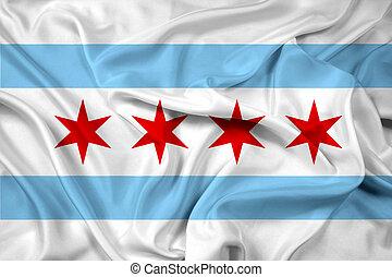 drapeau ondulant, chicago, illinois
