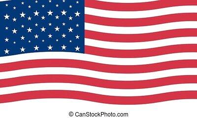 drapeau ondulant, etats, uni