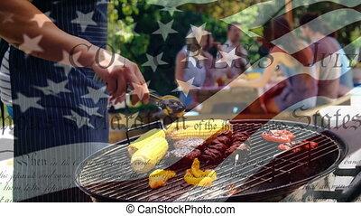 drapeau ondulant, famille, indépendance, barbecue, caucasien...