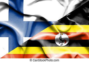drapeau ondulant, finlande, ouganda