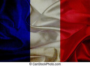 drapeau ondulant, grunge, france