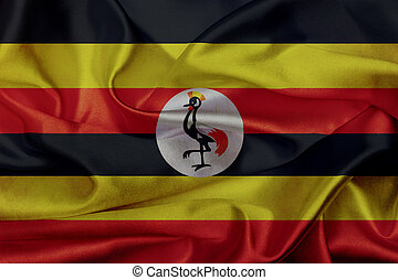 drapeau ondulant, grunge, ouganda