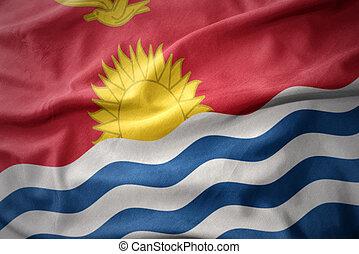 drapeau ondulant, kiribati., coloré