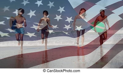 drapeau ondulant, multi, amis, races, plage, nous, premier plan