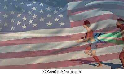 drapeau ondulant, ressac, multi, amis, races, nous, premier plan