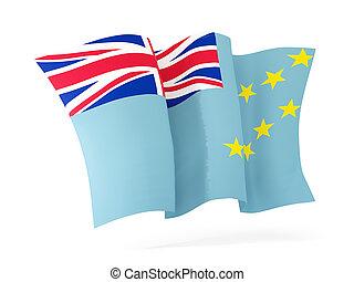 drapeau ondulant, tuvalu., illustration, 3d