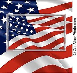 drapeau ondulant, vent, usa