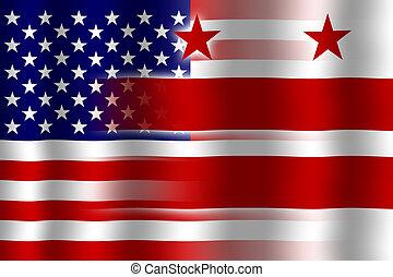 drapeau ondulant, washington dc, usa