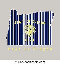 drapeau, oregon., text:, barcode, contour, forme, ensemble, fond, couleur, orégon, fait, carte, gris