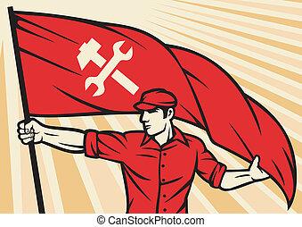 drapeau, ouvrier, tenue