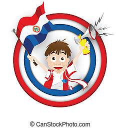 drapeau paraguay, football, ventilateur, dessin animé