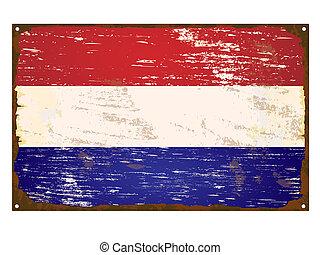 drapeau, pays-bas, émail, signe