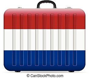 drapeau, pays-bas, voyage, valise