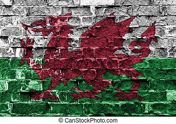 drapeau pays galles, peint, sur, mur brique