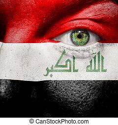 drapeau, peint, sur, figure, à, oeil vert, montrer, irak, soutien