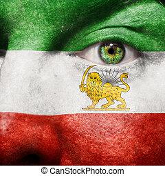 drapeau, peint, sur, figure, à, oeil vert, montrer, iran, soutien