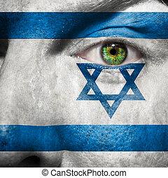 drapeau, peint, sur, figure, à, oeil vert, montrer, israël, soutien