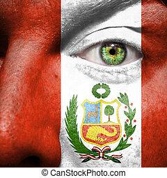 drapeau, peint, sur, figure, à, oeil vert, montrer, pérou, soutien