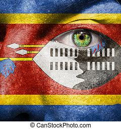 drapeau, peint, sur, figure, à, oeil vert, montrer, swaziland, soutien