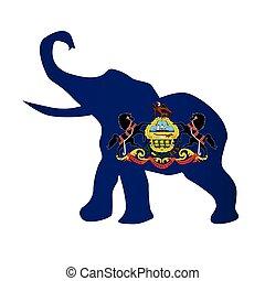 drapeau pennsylvanie, républicain, éléphant