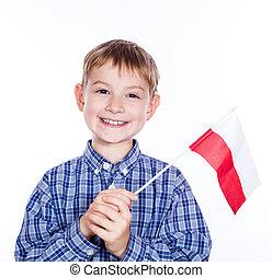 drapeau, peu, fond, blanc, polonais, garçon