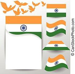drapeau, pigeon, ensemble, voler, inde