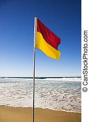 drapeau, plage.