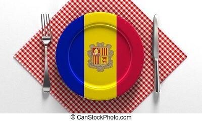 drapeau, plaque, andorra., plats, recettes, europe.,...
