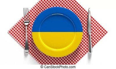 drapeau, plaque, plats, recettes, ukraine., europe.,...