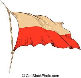 drapeau, pologne