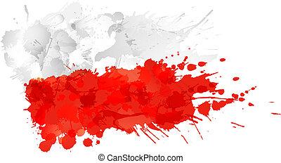 drapeau polonais, fait, eclabousse, coloré