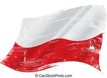 drapeau polonais, grunge