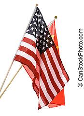 drapeau, porcelaine, usa