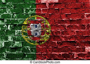 drapeau portugal, peint, sur, mur brique