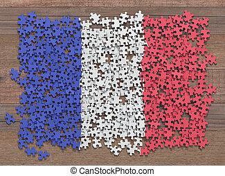 drapeau, puzzle, france