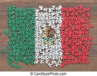 drapeau, puzzle, mexique