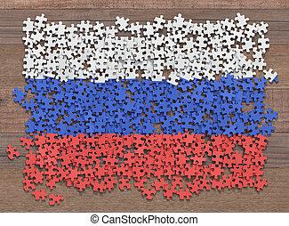 drapeau, puzzle, russie