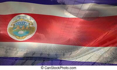 drapeau, rica, onduler, costa