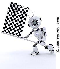 drapeau, robot, chequered