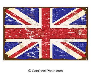 drapeau, royaume-uni, émail, signe