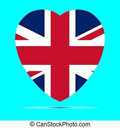 Royaume Coeur Uni Angleterre Drapeau Forme Vecteur