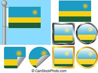drapeau, rwanda, ensemble