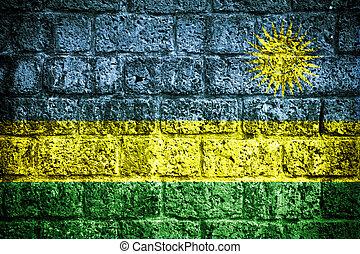 drapeau rwanda, peint, sur, mur brique
