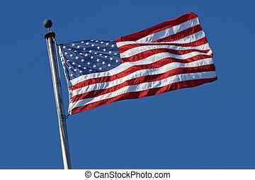 drapeau, souffler, américain, vent