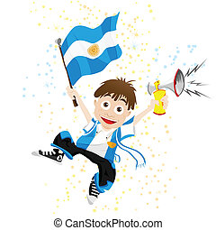 drapeau, sport, ventilateur, argentine, corne