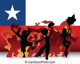 drapeau,  Sport, ventilateur, chili, foule