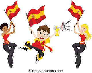 drapeau, sport, ventilateur, espagne, corne