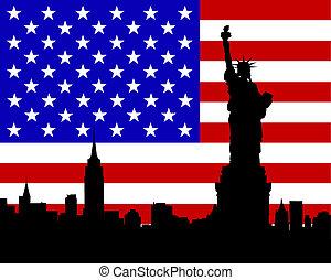 drapeau, statue