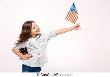 drapeau, studio, vif, démontrer, girl, amérique
