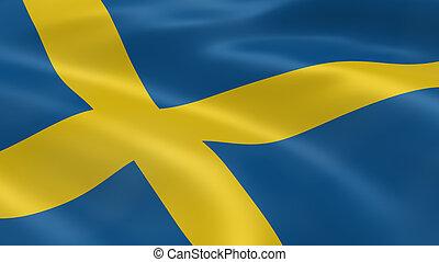 drapeau suédois, dans vent
